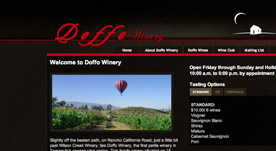Web Design Portfolio- Doffo Wines. A Temecula Wine Country Winery